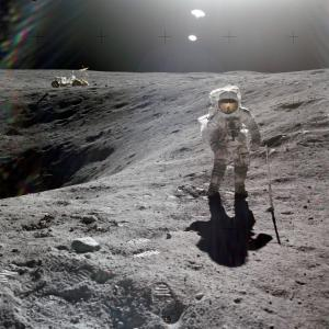 Charles Duke walking on the Moon during the Apollo 16 Mission