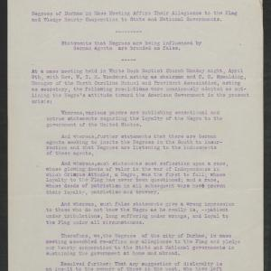 Letter from Black Citizens of Durham to Gov. Bickett, April 9, 1917, Page 1